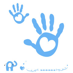 Baby boy hand prints arrival card with heart and elephant
