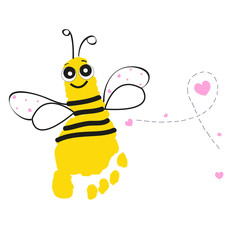 Bee with feet prints vector background