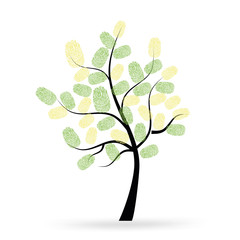 Tree with green finger prints vector
