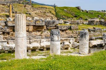 Ancient columns ruins in Hierapolis, Pamukkale, Turkey. UNESCO World Heritage