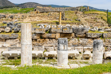 Ancient columns ruins in Hierapolis, Pamukkale, Turkey. UNESCO World Heritage