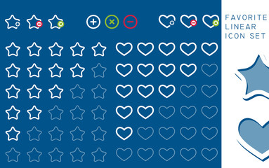 Colored stars and hearts favorite icons set, vector