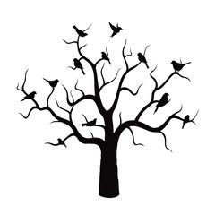 Tree and Black Birds. Vector Illustration.
