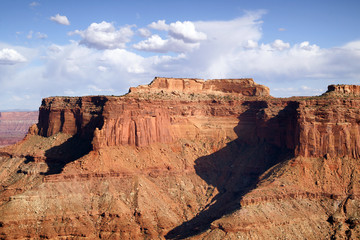 Schafer Canyon Majestic Buttes Puffy Clouds Blue Sky Canyonlands