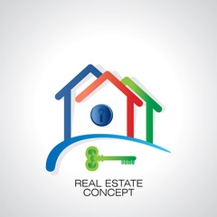 three home icon with key vector illustration