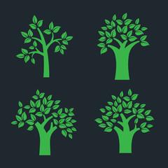 set of simple tree symbol isolated on dark background