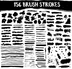 Brush strokes vector set