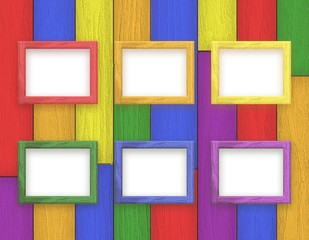 Wooden picture frames color set on colorful wooden rainbow background