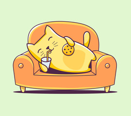 Vector illustration of color character cat lying on the sofa wit