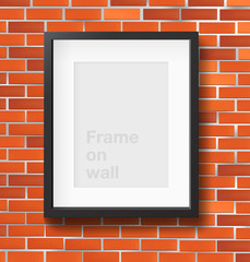 Photo frame on red brickwall. Vector illustration
