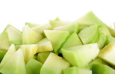 Close up cantaloupe melon isolated on white