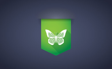 Long shadow ribbon icon with a butterfly