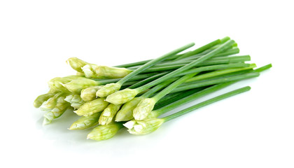 Chives flower or Chinese Chive isolated on white background