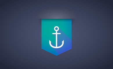 Long shadow ribbon icon with an anchor
