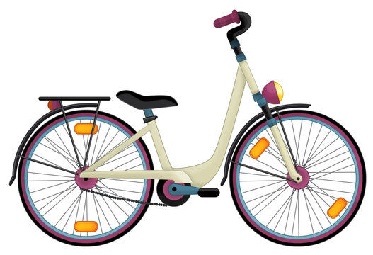 Cartoon bicycle - coloring page - illustration