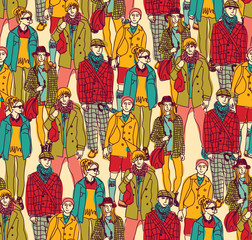 Hipster fashion crowd people color