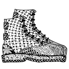 Hand drawn Zentangle Shoes. Use for wallpapers, pattern fills, web pages elements and etc.