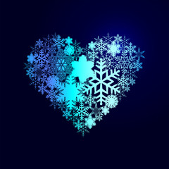 Winter decorations. Symbols of snowflakes. Heart.