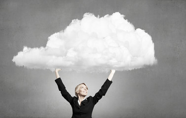Woman hold cloud