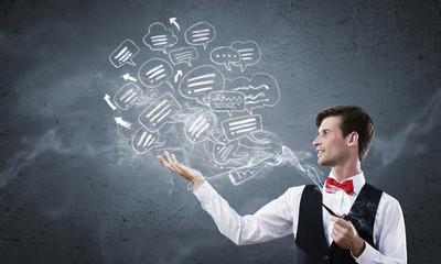 Businessman and pipe smoke
