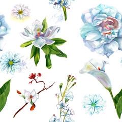 Retro style watercolour white flowers seamless pattern
