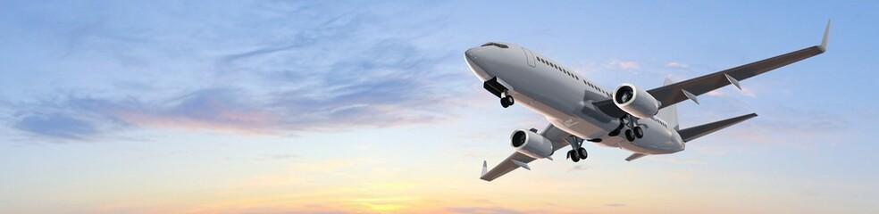 Modern Passenger airplane flight in sunset panorama Wall mural