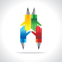 colorful pencil with hands team work idea concept