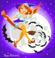 Cute young witch on a broomstick in the night sky with his retin