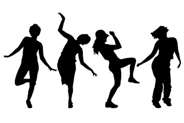 Vector silhouettes of women.