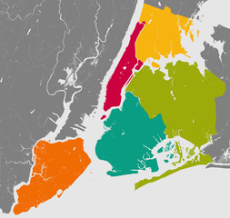 Boroughs of New York City - outline map.