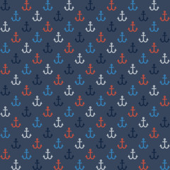Seamless navy style pattern with colorful anchors
