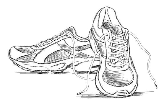 Handmade Sneakers Sports Shoe Vector Sketch Illustration