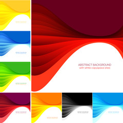 Set of stylish wavy backgrounds with white copyspace area