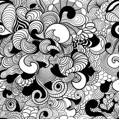 Seamless pattern in style zentangle (ethnic, doodle).  Zentangle  wave background in style zentangle.