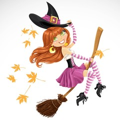 Beautiful witch flying on a broomstick isolated on white backgro
