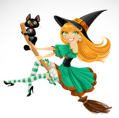 Beautiful red haired witch flying on broomstick