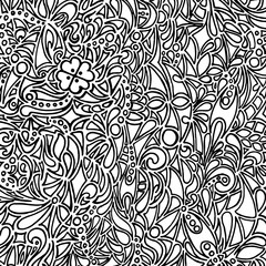 Doodle black and white monochrome vector background
