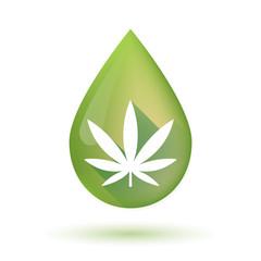 Olive oil drop icon with a marijuana leaf