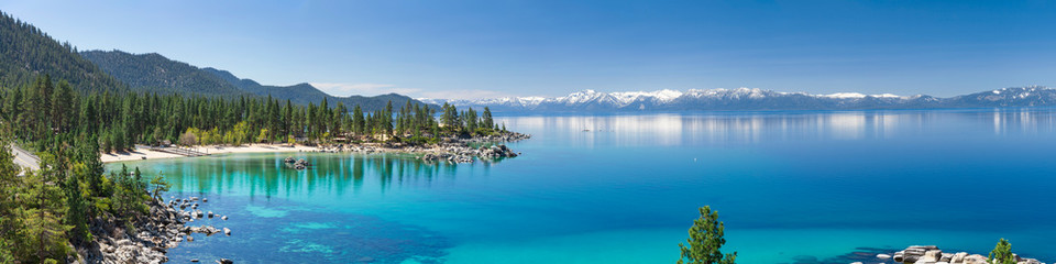 Garden Poster Lake High resolution panorama of Lake Tahoe with view on Sand Harbor State park