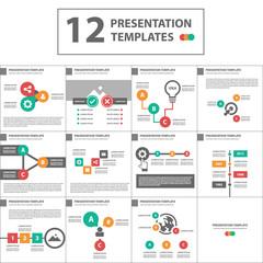 3 color multipurpose presentation template flat design set