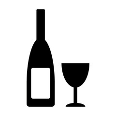 Bottle and glasse icon.