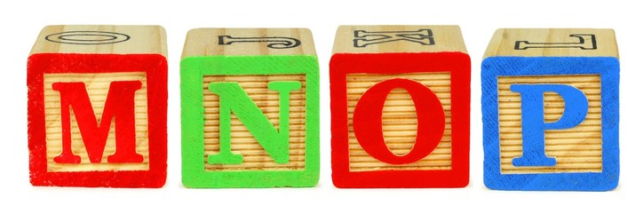 M N O P wooden toy letter blocks isolated on white