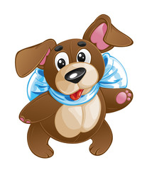 children's soft toy funny dog with a bow