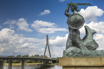 The Warsaw Mermaid called Syrenka on the Vistula River bank in W