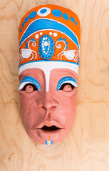 High Angle View of Painted Clay Mask