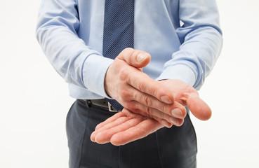 Unrecognizable businessman using gesture in discuss, white background