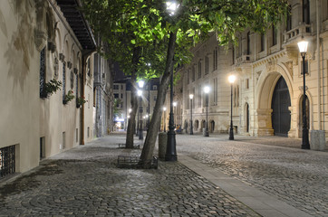 Night street scene in Bucharest old city.