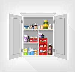 Cupboard with medicines. Vector flat illustration