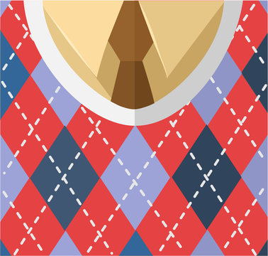 Male breast with tie, shirt, vest. Vector flat illustration