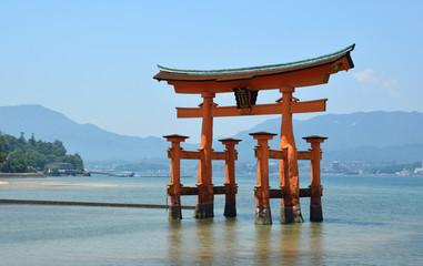 Itsukushima Shrine, red torii gate